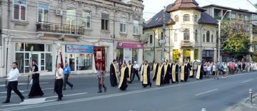 Procesiune în municipiul Galaţi cu icoana Maicii Domnului Făcătore de Minuni de la Mănăstirea Adam